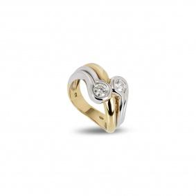 18k White and Yellow Gold Diamond Dress Ring